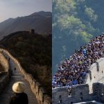 "This picture taken on October 3, 2012 shows visitors gathered on the Great Wall of China outside Beijing. Hundreds of millions of tourists crowded into scenery spots, resorts and other tourism destinations scattered across the country while millions of visitors arrived in the capital city over the National Day ""Golden Week"" holidays."
