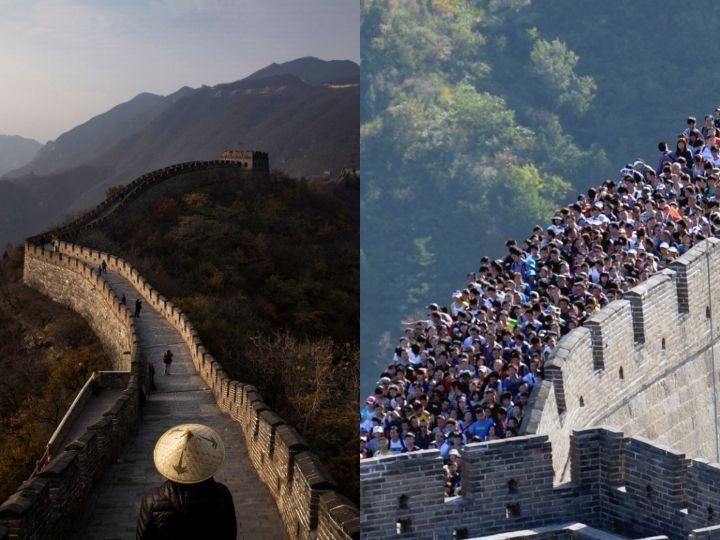 This picture taken on October 3, 2012 shows visitors gathered on the Great Wall of China outside Beijing. Hundreds of millions of tourists crowded into scenery spots, resorts and other tourism destinations scattered across the country while millions of visitors arrived in the capital city over the National Day