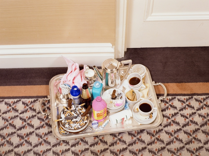 Used room-service items are left on a tray outside a room at the Mayflower Hotel in Washington, where Democratic Party strategists are meeting prior to the 1988 Democratic Convention to be held in Atlanta