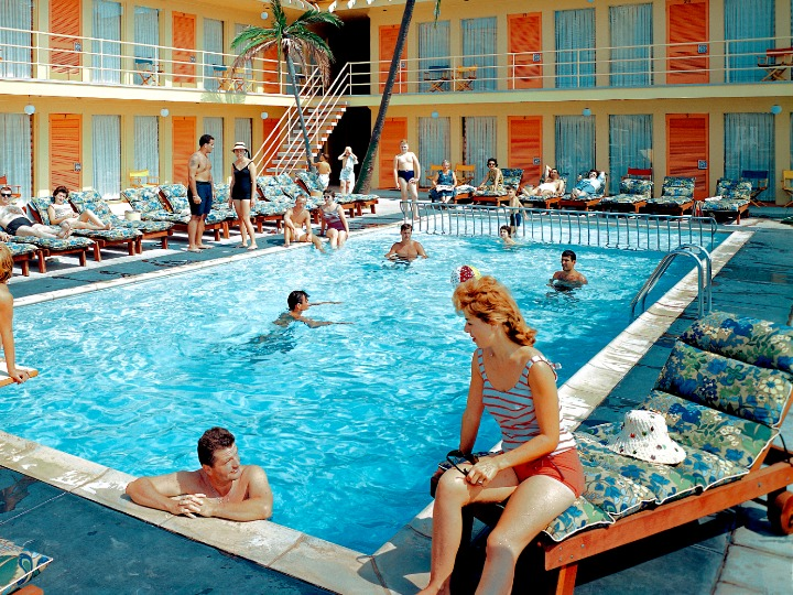 Tourists at Tahiti Motel Swimming Pool in Wildwood, New Jersey