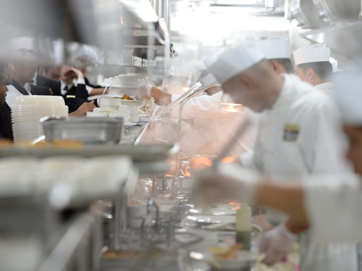 Life on board and off Queen Elizabeth - chefs in the galley on August 01, 2014 in Venice, Italy.
