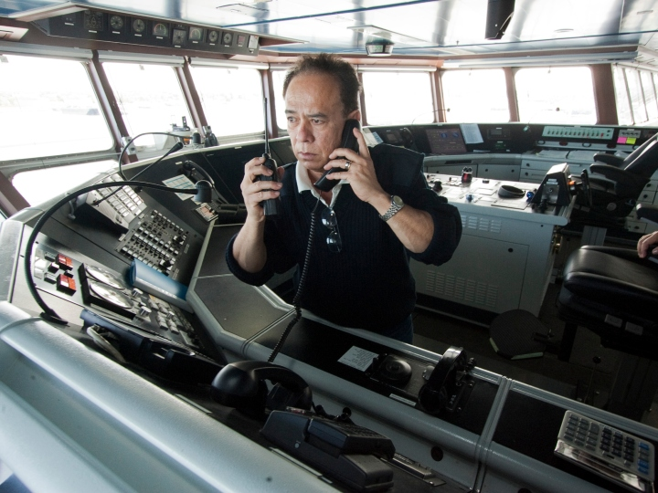 Novastar Navigation Officer Adrian Dominise talks on the radio of the Nova Scotia ferry while the vessel was in port at Ocean Gateway in Portland on Thursday, May 29, 2014